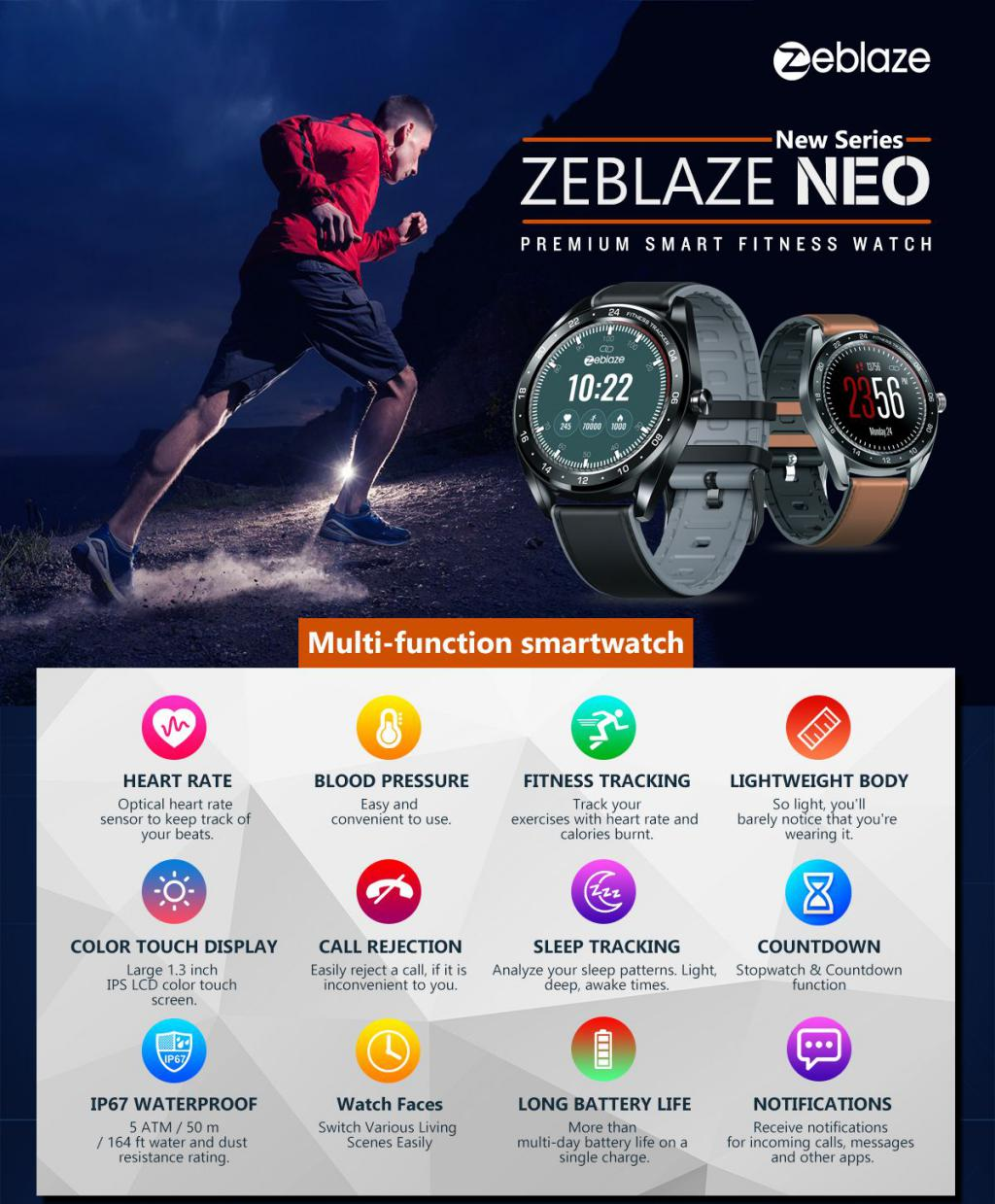 Zeblaze Neo Full Round Touch Screen Smartwatch (1)