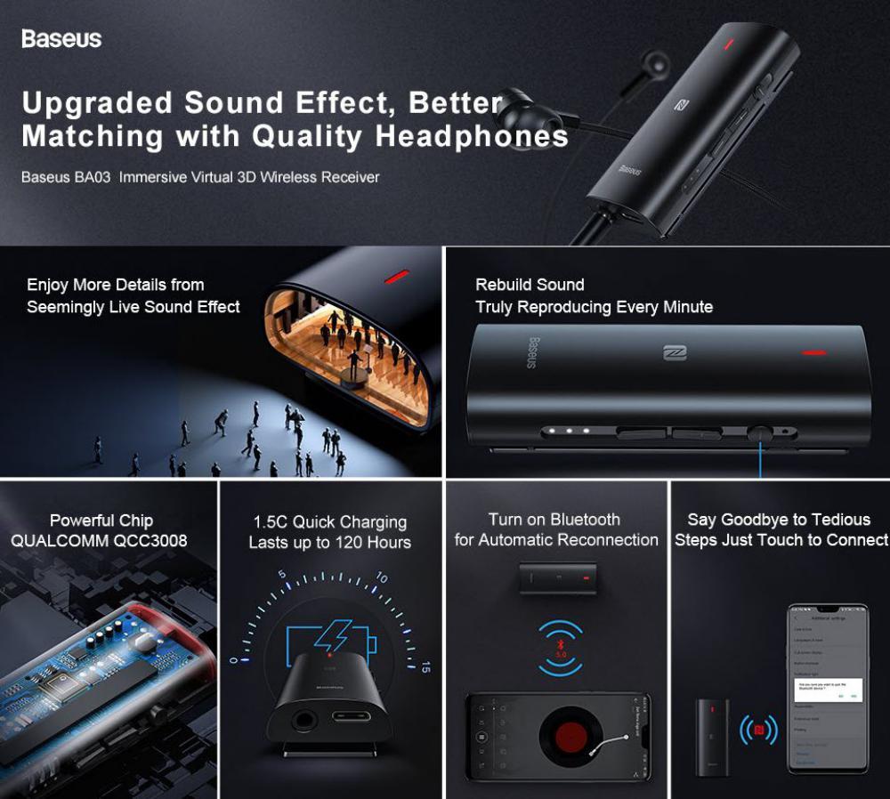 Baseus Ba03 Immersive Virtual 3d Wireless Audio Receiver