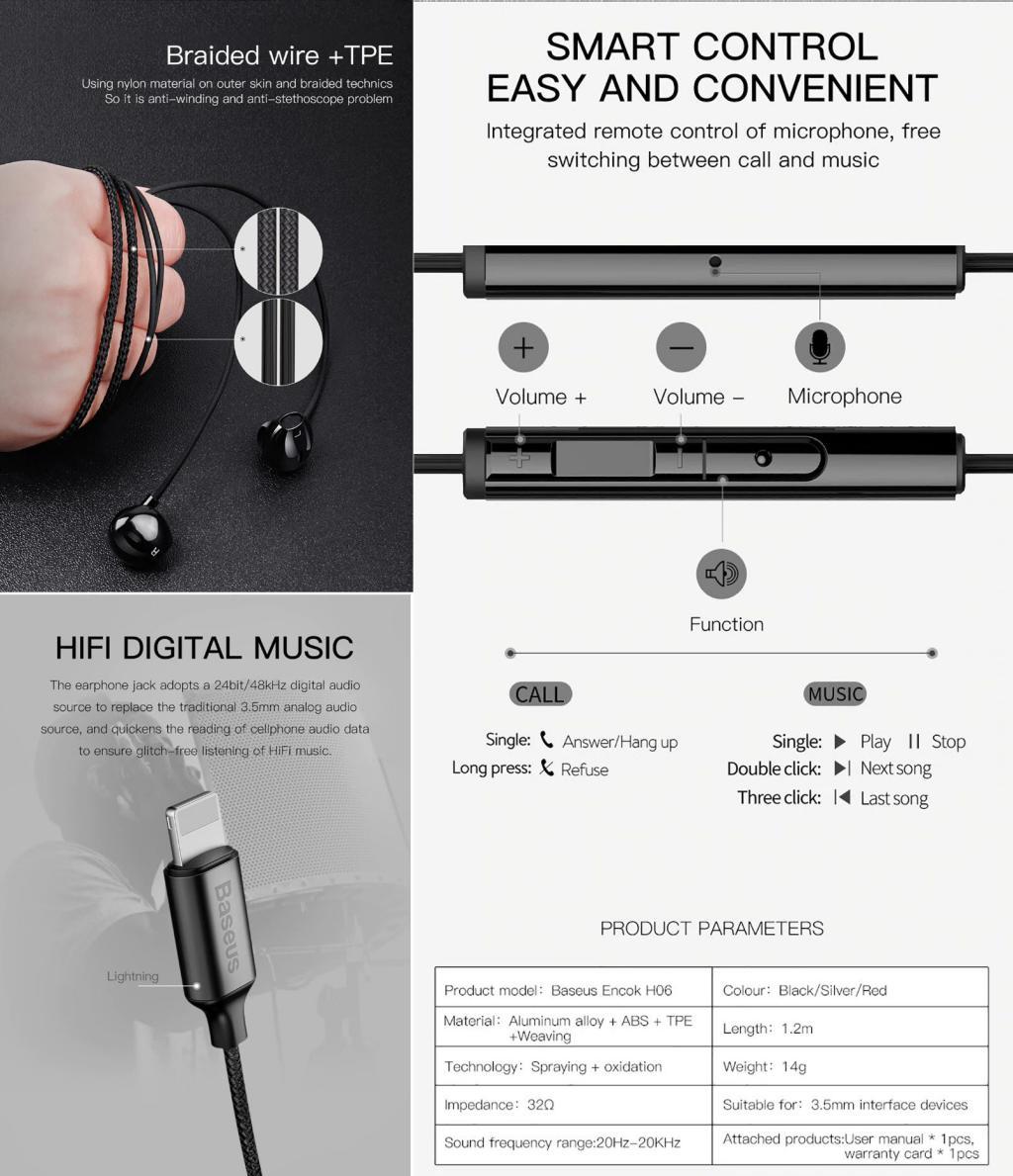 Baseus P06 Lightning Digital Earphones (4)