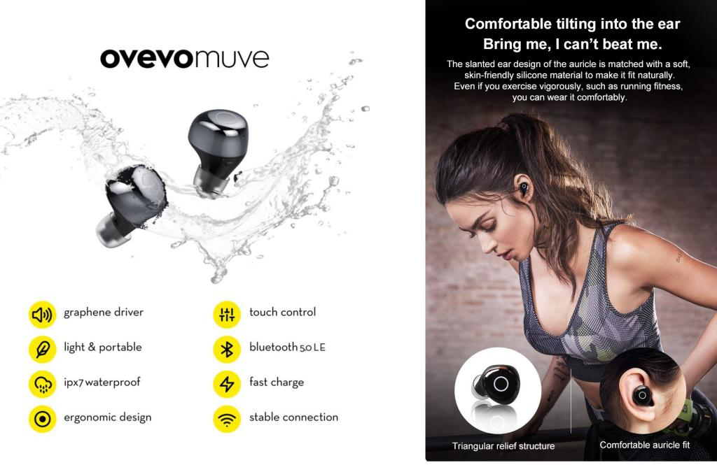 Ovevo Q65 Bluetooth 5 0 Tws Earbuds Ipx7 Water Resistant (5)