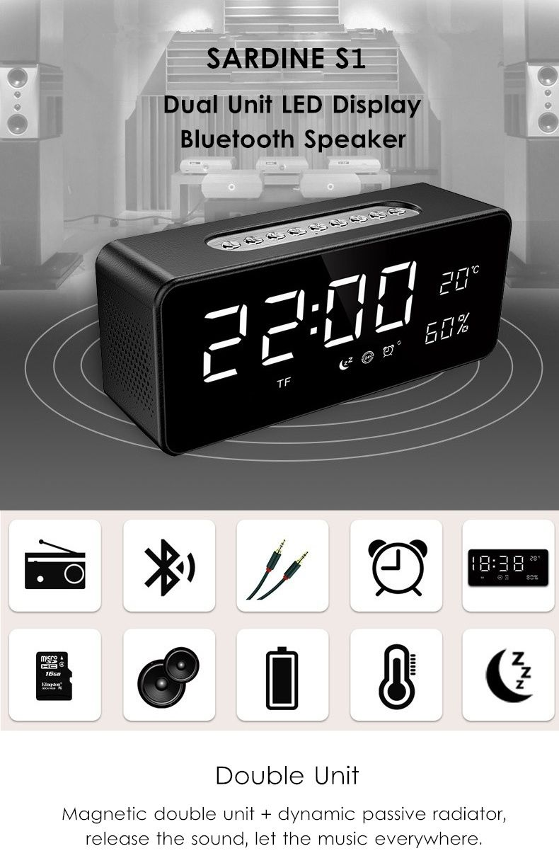 Sardine S1 Dual Bluetooth Speaker With Led Display Clock (2)