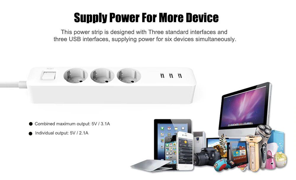Xiaomi Mi Power Strip 3 Usb Eu Plug Sockets (3)