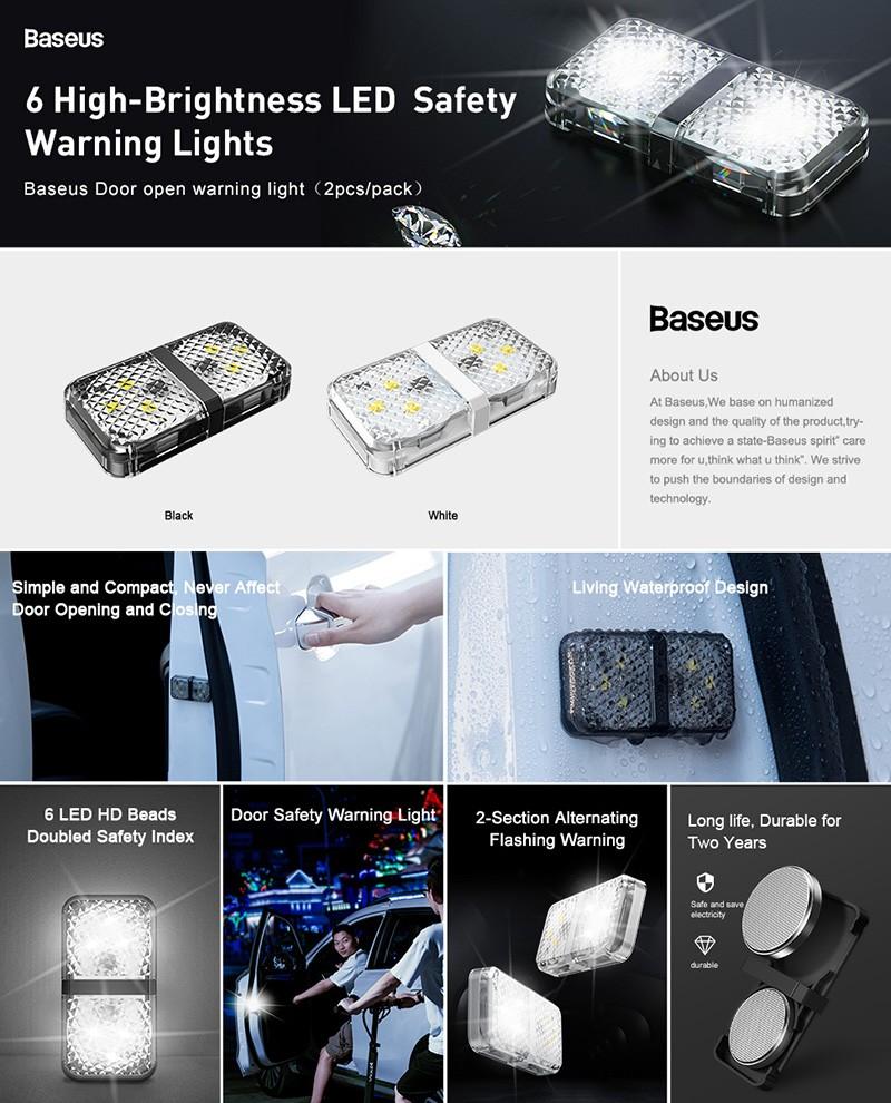 Baseus 2pcs 6 Leds Car Openning Door Warning Flash Lights (2)