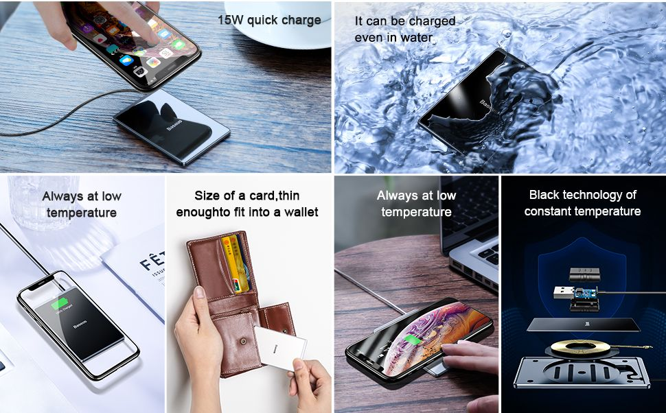 Baseus Card Ultra Thin Wireless Charger 15w With Usb Cable (1)