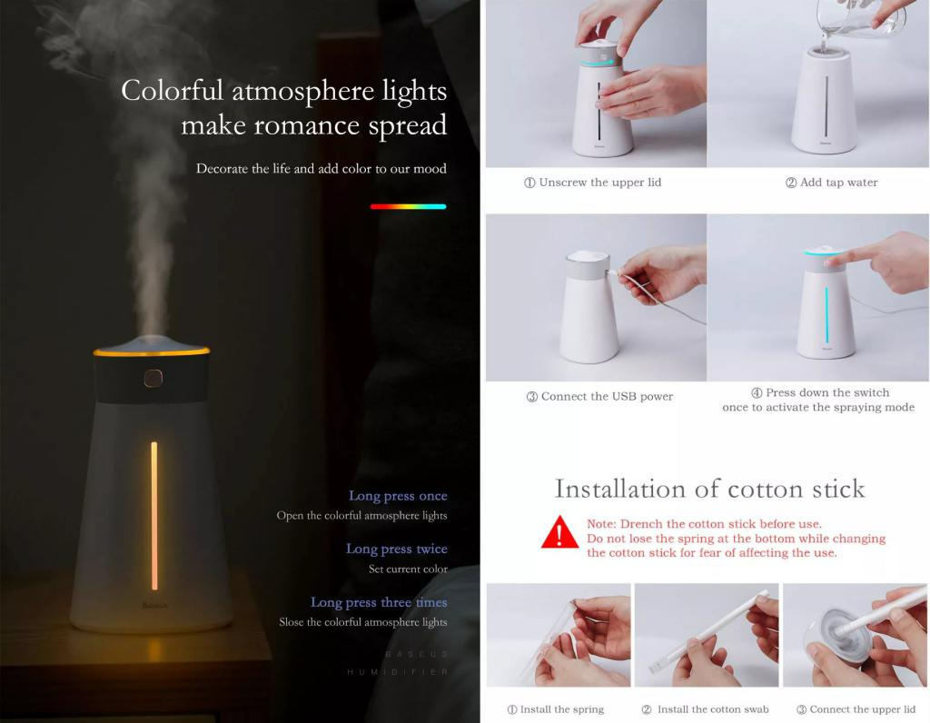 Baseus Humidifier Aroma Essential Oil Diffuser (3)