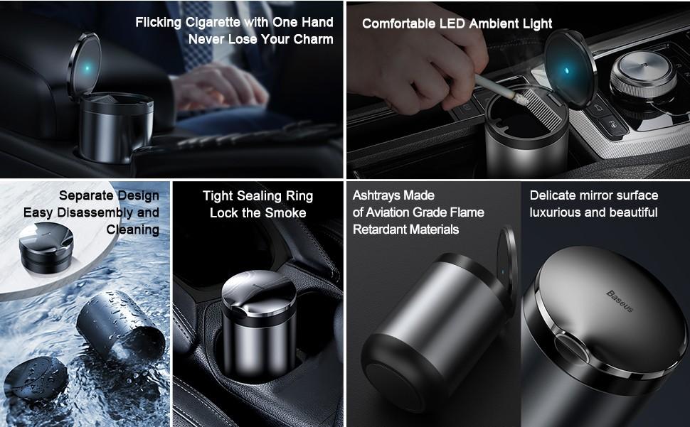 Baseus Portable Car Ashtray Led Light Cigarette Smoke Ashes Holderhtray With Led Light (2)