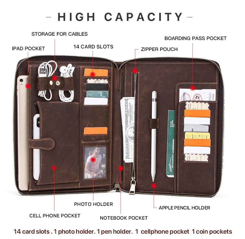 Contacts Family Leather Bag For Phone Pocket Earphone Pouch Passport Holder (1)