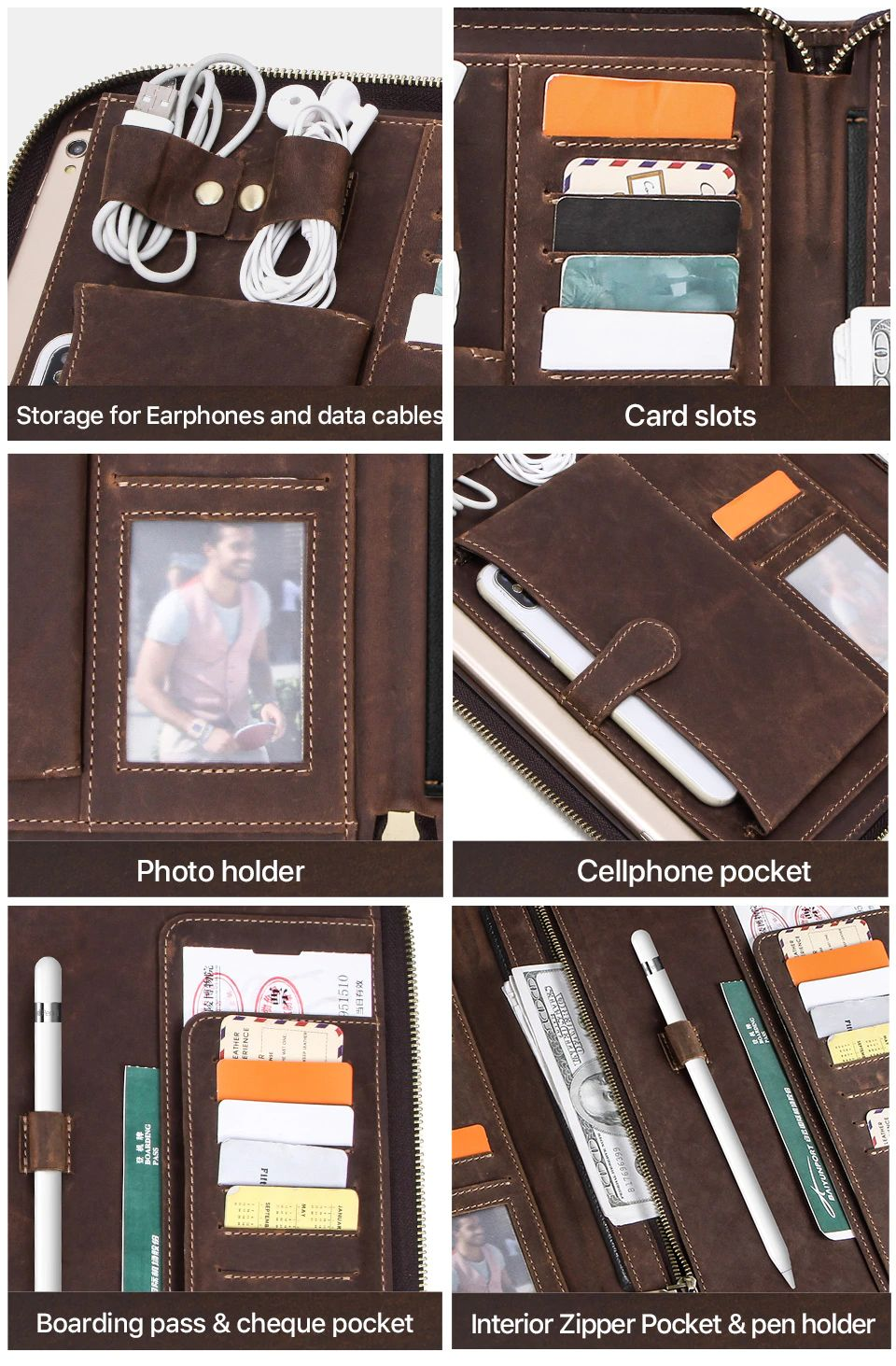 Contacts Family Leather Bag For Phone Pocket Earphone Pouch Passport Holder (2)