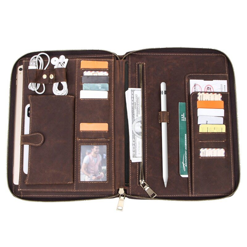 Contacts Family Leather Bag For Phone Pocket Earphone Pouch Passport Holder (3)