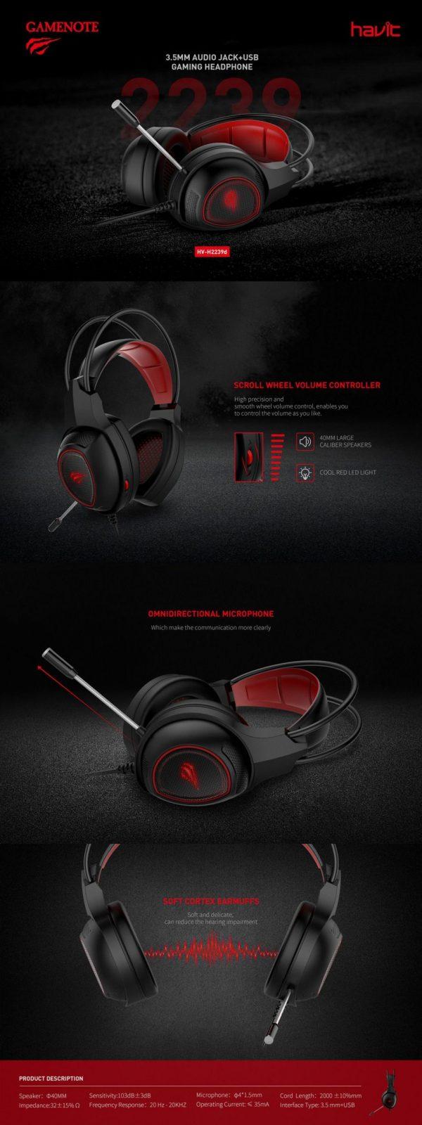 Havit Gamenote 3 5mm Audio Jackusb Gaming Headphones (2)