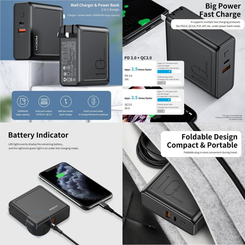 Rock 2 In 1 Design 18w Pd 10000mah Power Bank Wall Charger (4)
