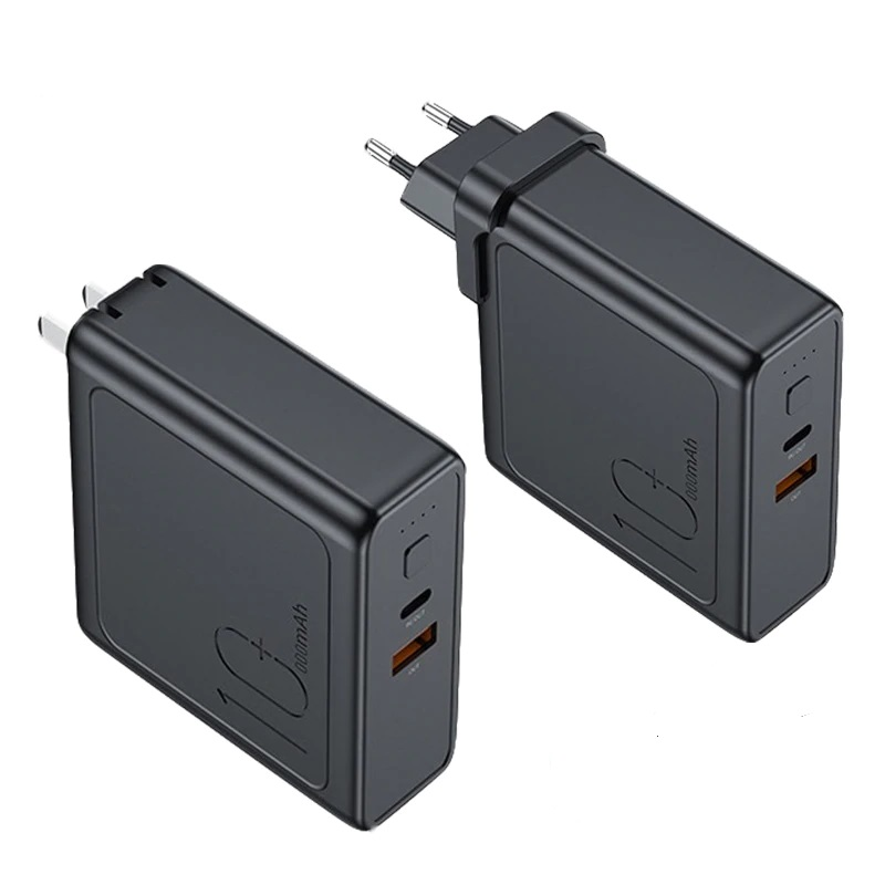 Rock 2 In 1 Design 18w Pd 10000mah Power Bank Wall Charger