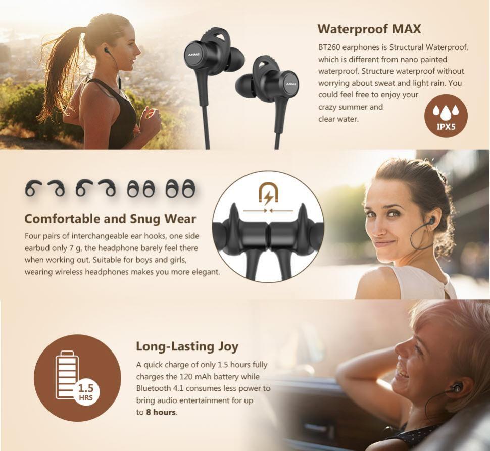 Uiisii Bt260j Bluetooth Waterproof Earphones (7)
