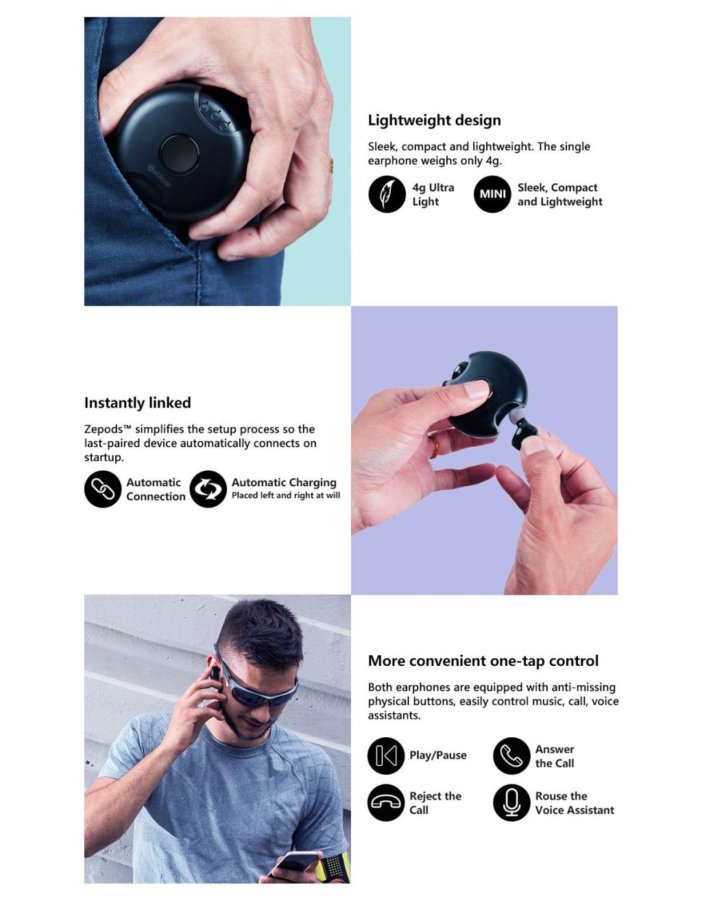 Zeblaze Zepods Totally Wireless Earbuds With Type C Fast Charging (5)