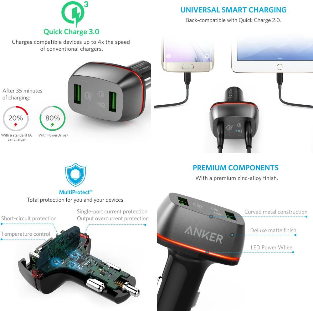 Anker Powerdrive 2 Ports 42w With Quick Charge 3 0 Car Charger (2)