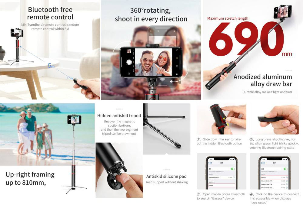 Baseus Foldable Bluetooth Control Selfie Stick With Tripod (4)