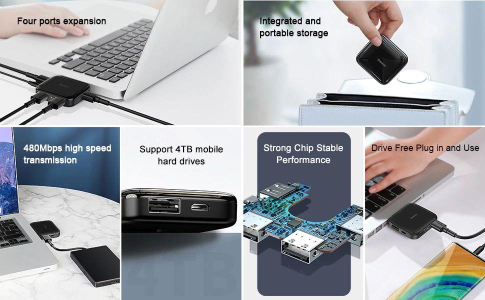 Baseus Fully Folded Portable 4 In 1 Usb Hub (2)