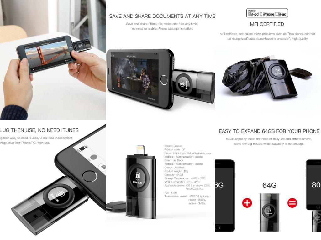 Baseus Obsidian X1 Lightning 64gb Flash Disk Drive For Iphone (4)