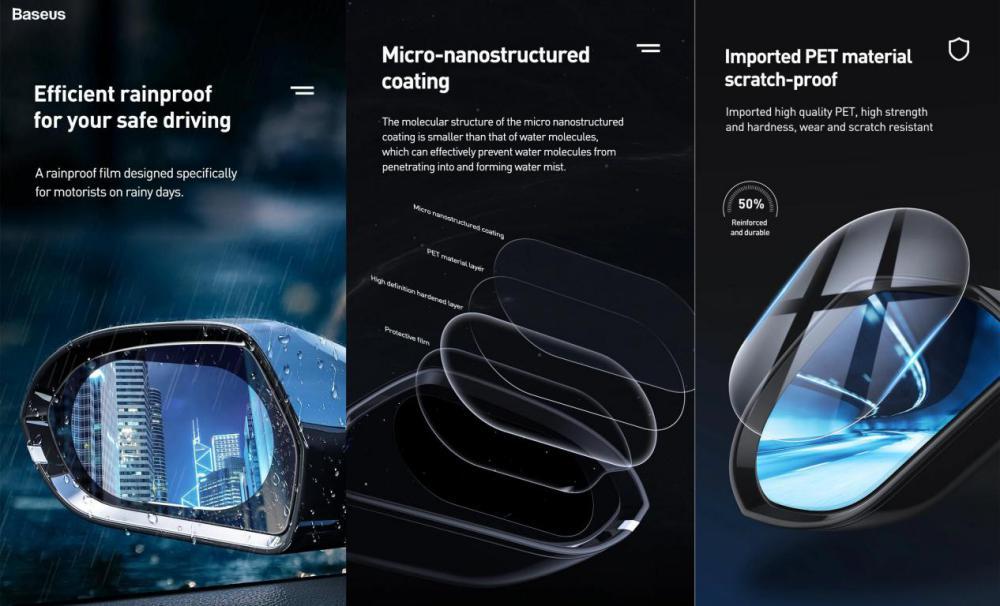 Baseus Oval Shape Car Rearview Mirror Film Anti Fog Rainproof Anti Glare Film (4)