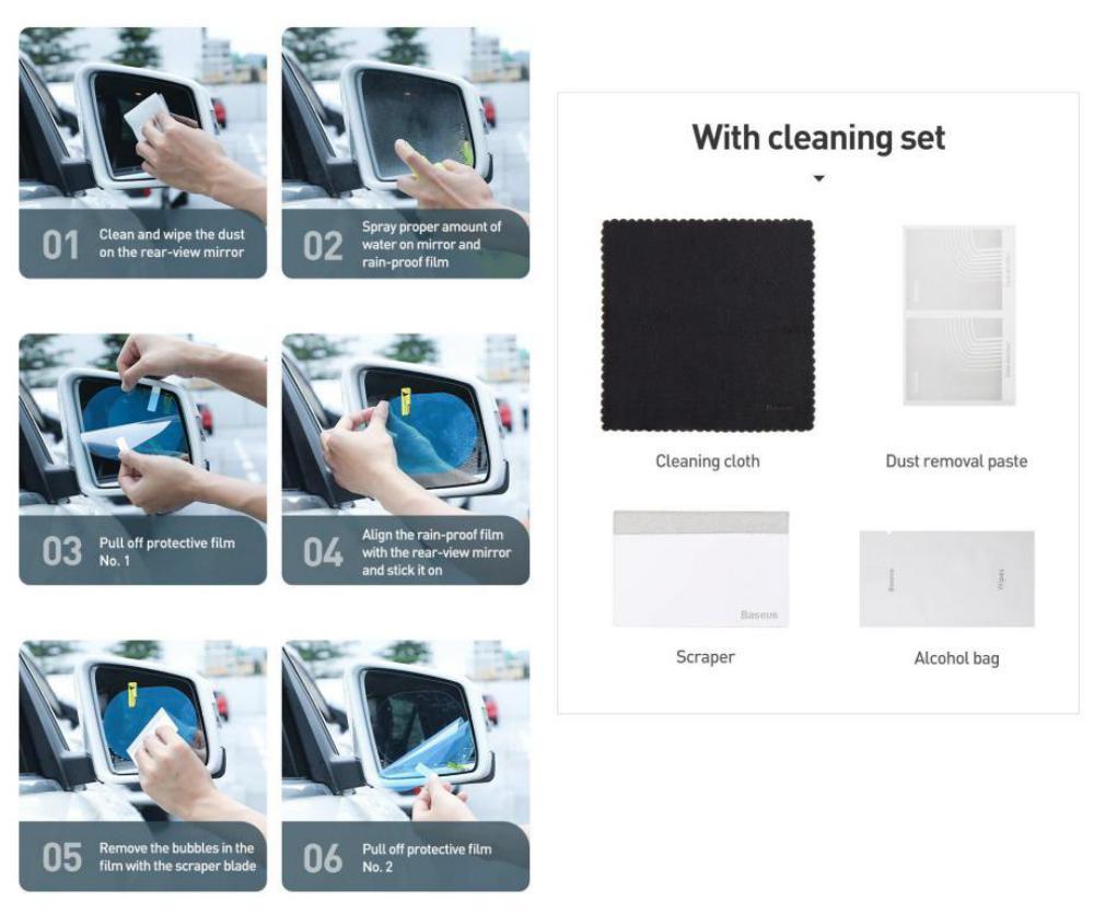 Baseus Oval Shape Car Rearview Mirror Film Anti Fog Rainproof Anti Glare Film (5)