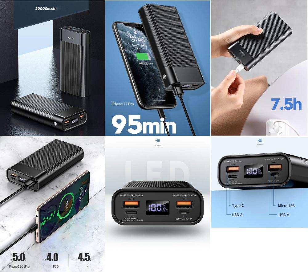 Rock P82 Pd Power Bank 20000mah With Digital Display Screen (1)