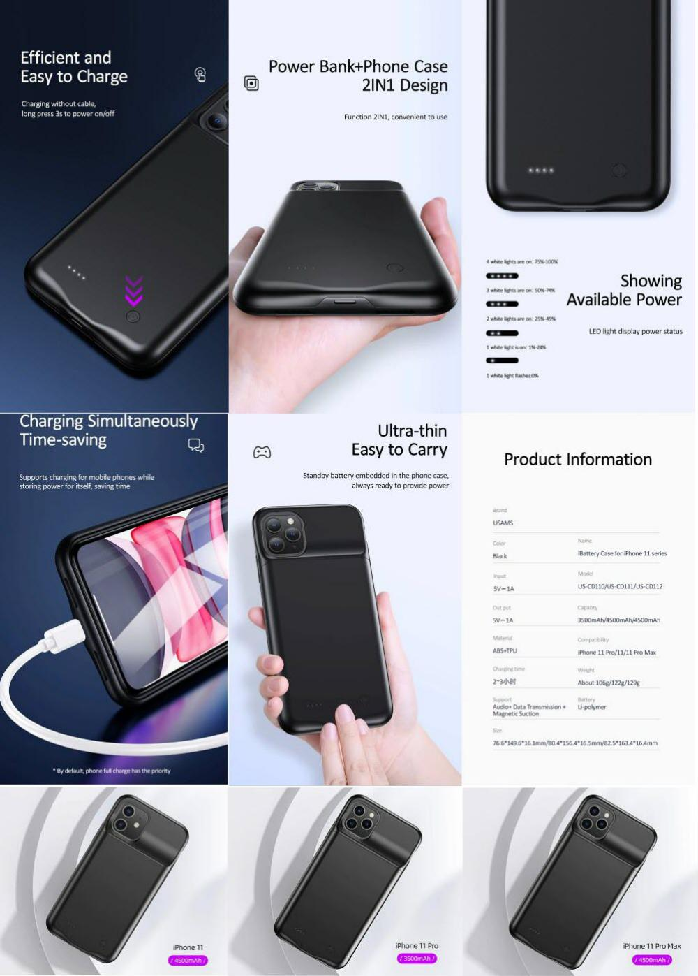 Usams Rechargeable Battery Backup Case For Iphone 11 11 Pro 11 Pro Max (3)