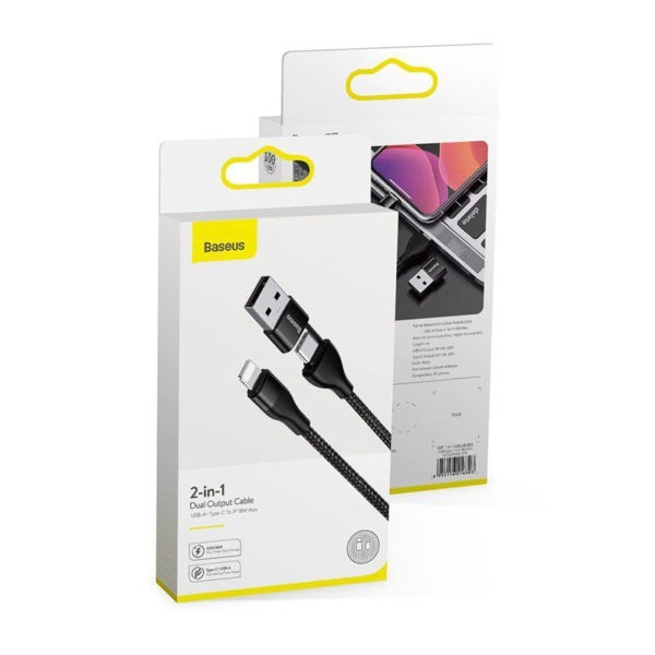 Baseus 2 In 1 Dual Output Cable Type C To Ip (3)
