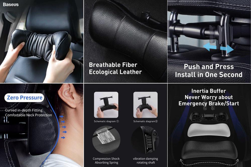 Baseus Car Neck Pillow Adjustable Pu Leather (3)