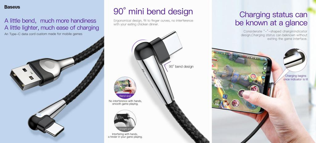 Baseus Sharp Bird Mobile Games Cable For Usb Type C Micro Lightning (1)