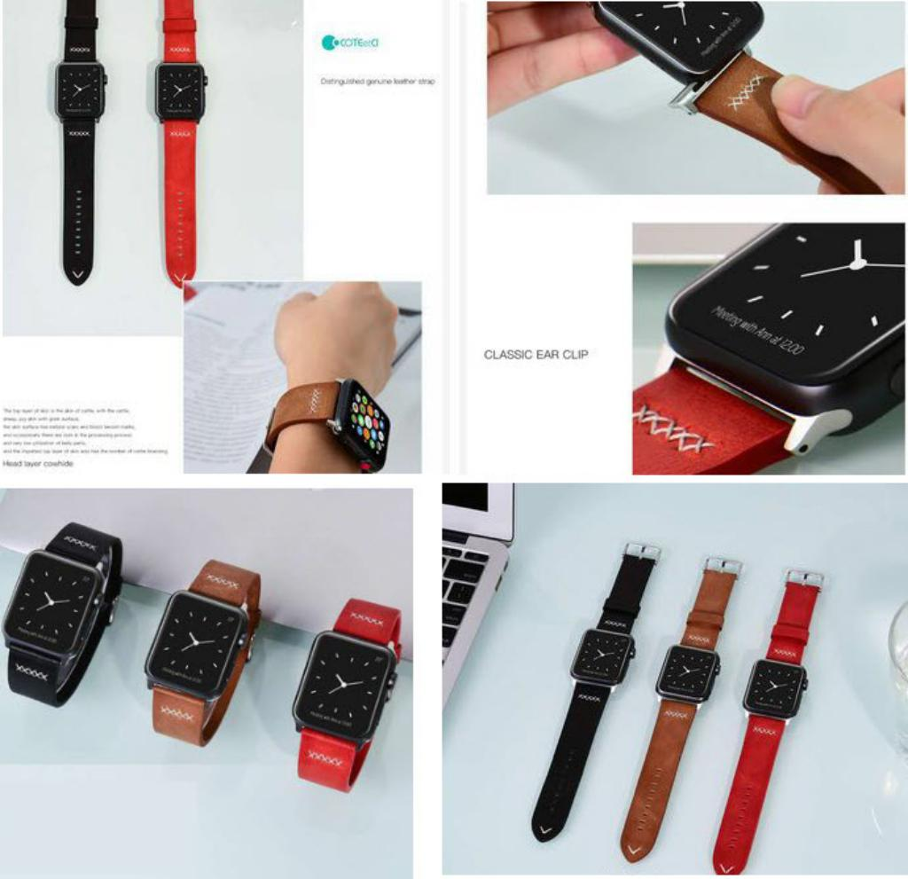 Coteetci W33 Leather Watchband For Apple Watch 42 44 Mm (1)