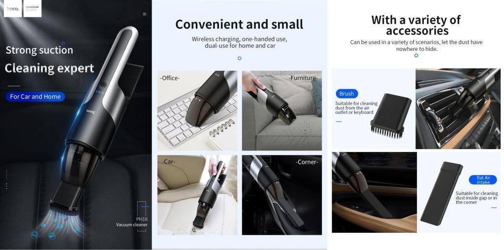 Hoco Ph16 Azure Portable Vacuum Car Cleaner (1)