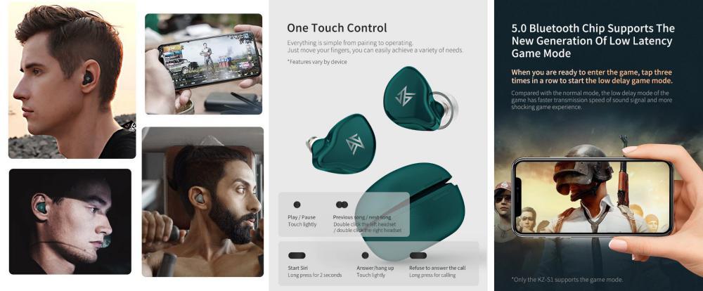 Kz S1 True Wireless Bluetooth Earphones (1)