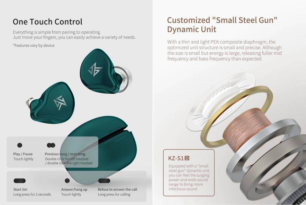 Kz S1d Dynamic Tws Bluetooth 5 0 Earbuds (4)