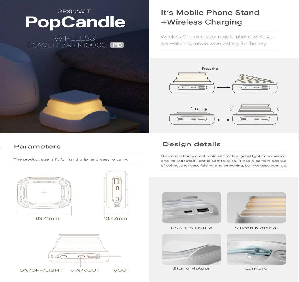 Mipow Pop Candle Pd 18w 10000mah Power Bank With Night Lamp (1)