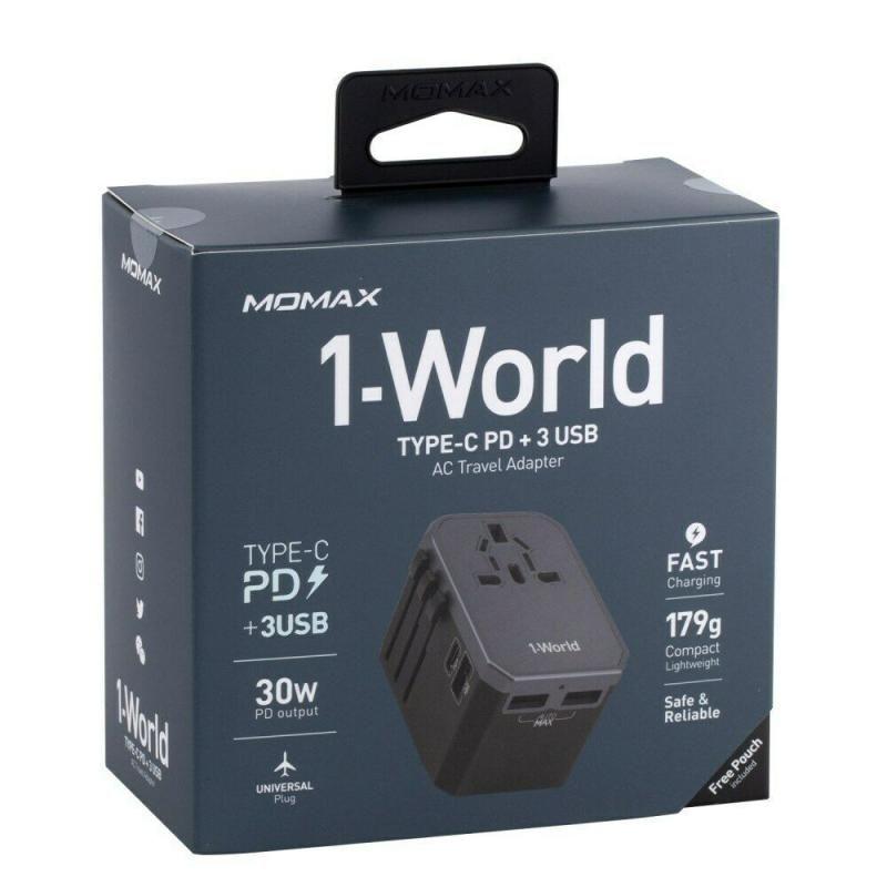 Momax 1 World Type C Pd 3 Usb Ac Travel Adapter 30w (4)