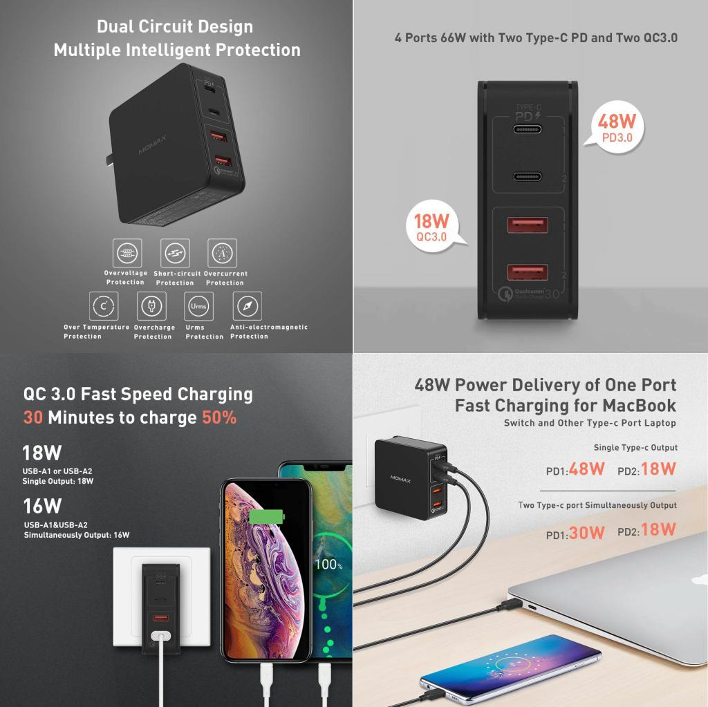 Momax One Plug 66w 4 Port Type C Pd Charger (1)