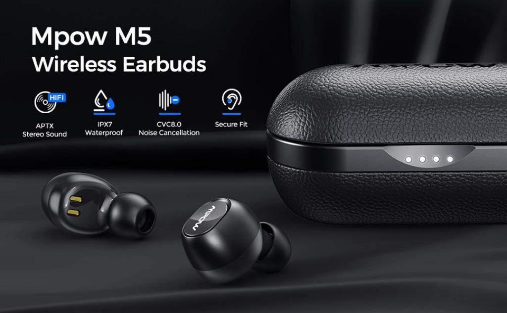 Mpow T5 M5 Aptx Tws Earbuds With Noise Cancellation