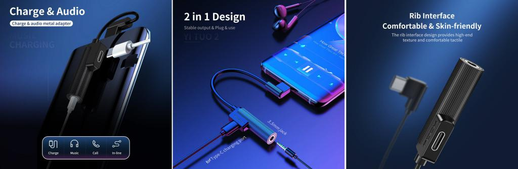Rock L Shape Type C 3 5mm Metal Charge Audio 2 In 1 Cable (3)