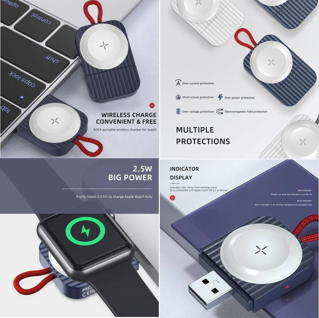Rock Magnetic Wireless Charger Pad For Apple Watch (2)