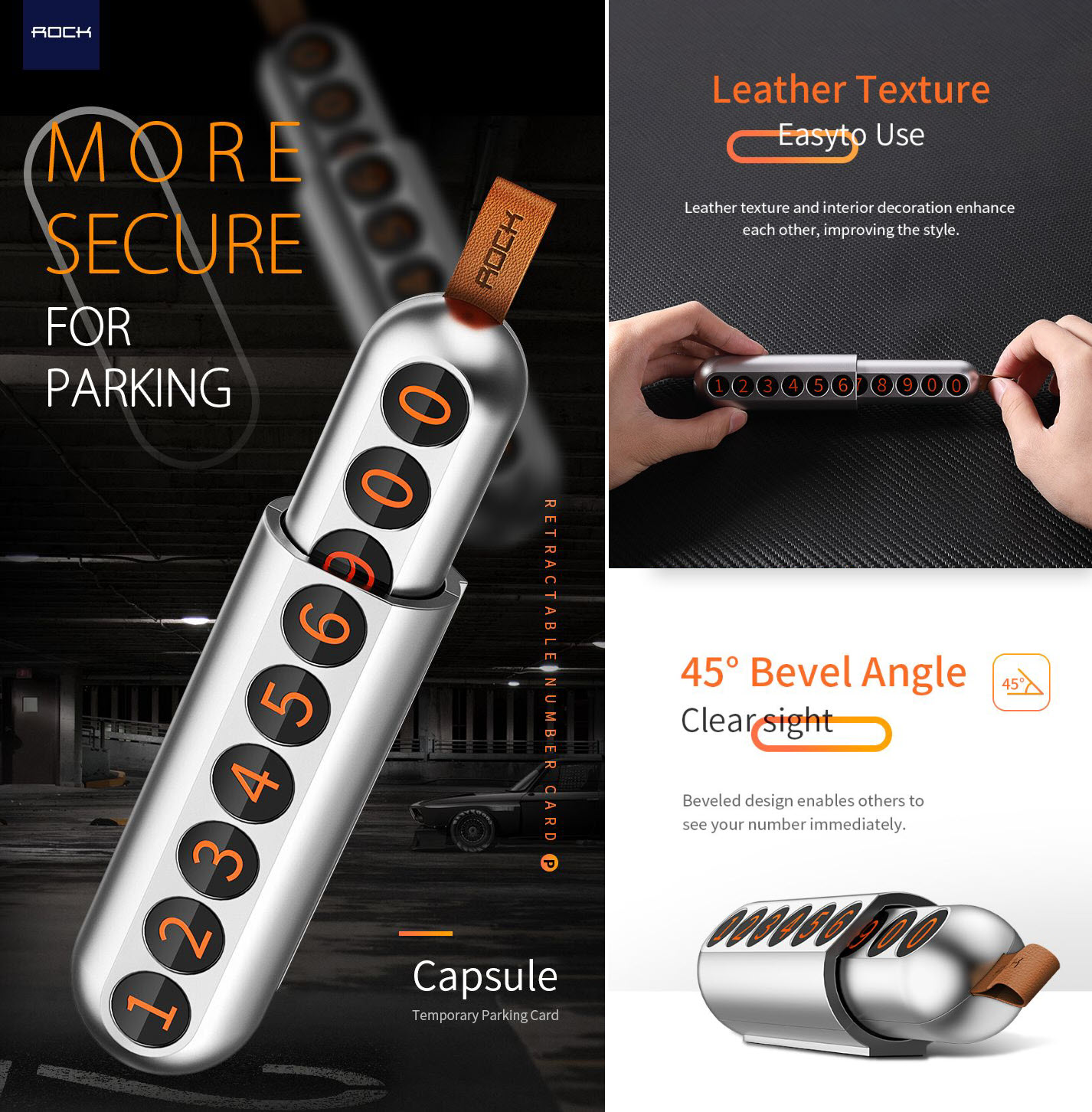 Rock Retractable Parking Number Card Capsule (1)
