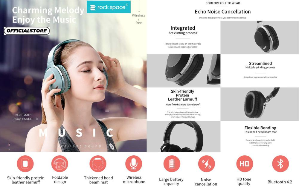 Rock Space O1 Wireless Noise Cancelling Headphones (1)