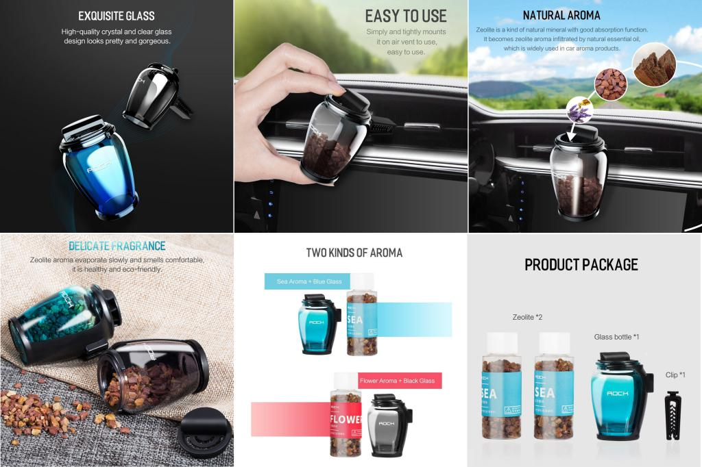 Rock Zeolite Aroma Air Freshener With Car Holder (3)