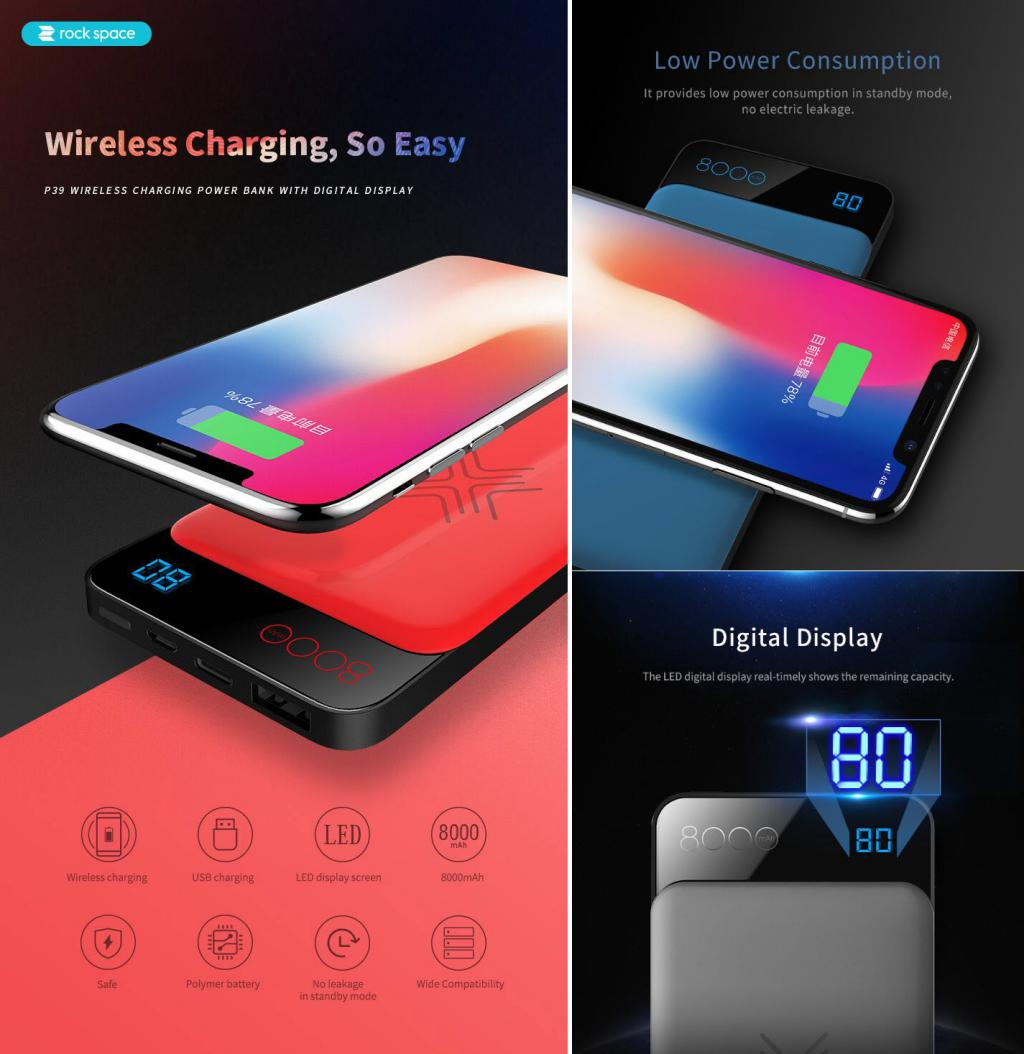 Rock Space P39 Wireless Charging Power Bank Blue 1 (1)