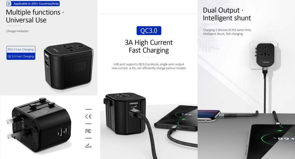 Usams T16 Universal Pd And Pc Fast Travel Charger (1)