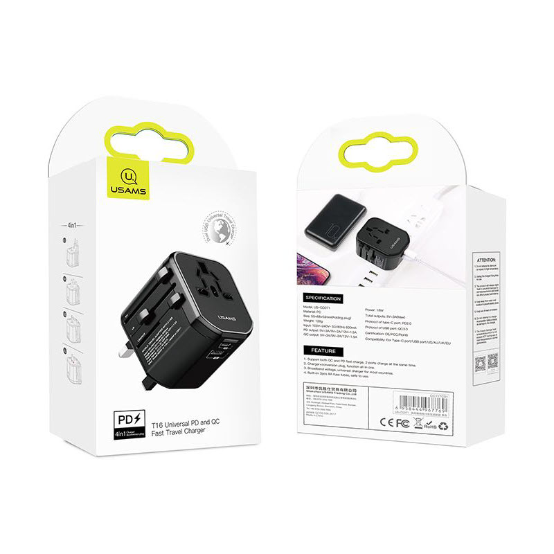 Usams T16 Universal Pd And Pc Fast Travel Charger (3)