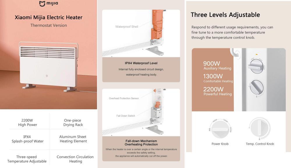 Xiaomi Mi Mijia Thermostat 2200w Electric Heater (3)