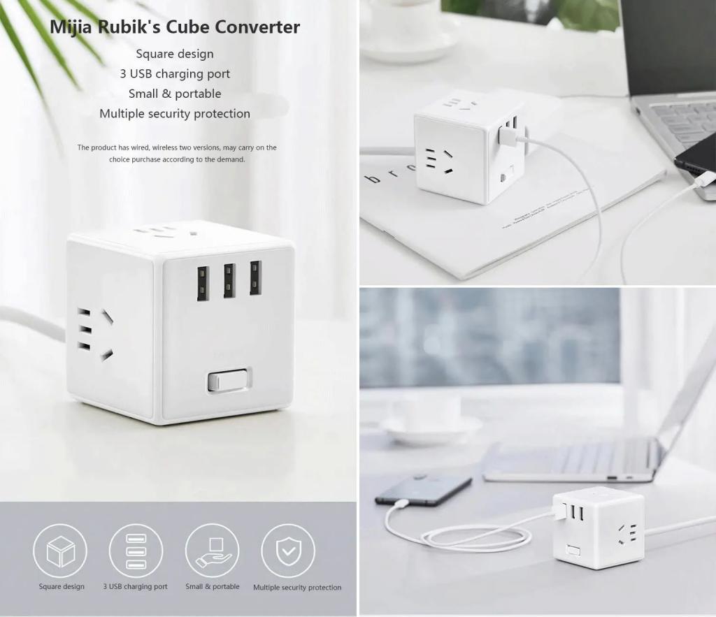 Xiaomi Mijia Magic Cube 3 Usb Ports Power Strip Adapter