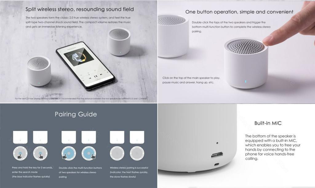 Xiaomi Portable Tws Bluetooth 5 0 Speakers 2pcs (4)