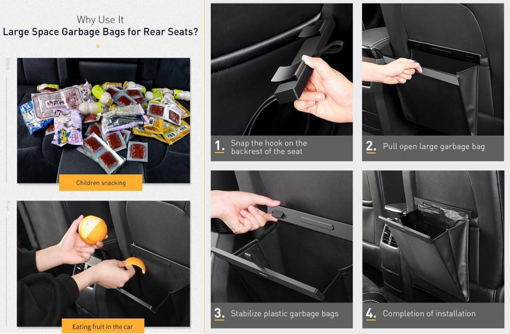 Baseus Car Organizer Pu Leather Back Seat Storage Bag (4)