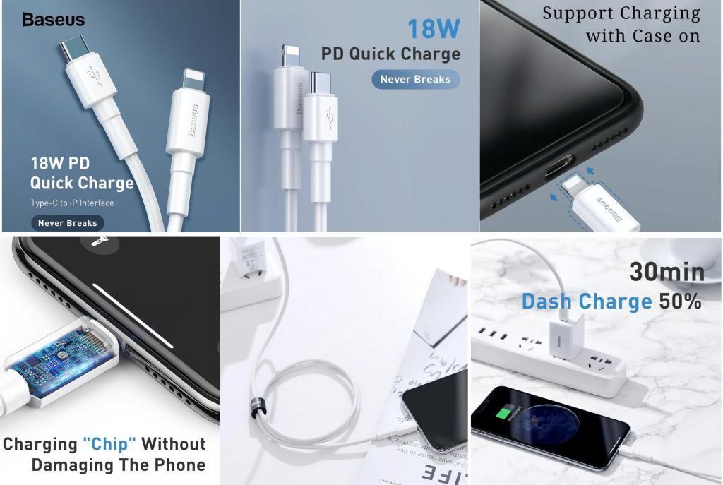Baseus Mini White Cable Type C To Ip Lightning Pd 18w